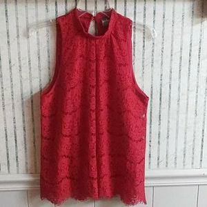 Soho Jeans Red Laced Top Size M